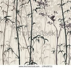Panda in the Bamboo Forest - stock vector