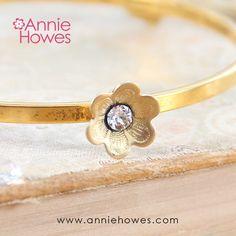 """Stacking Bangle. """"Fleur"""" Swarovski Crystal Gold Plated Bangle Bracelet – Annie Howes"""