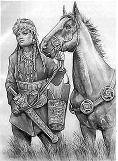 "The Scythians were a nomadic tribe that dominated the steppes for nearly five hundred years. The Scythians spoke a tongue from the Northeastern Iranian language family. The Scythians were renowned for their ability to shoot their arrows with deadly accuracy from horseback. This talent astounded their neighbors, who referred to them as the ""horse-bowmen."" The greatest amount of territory under Scythian influence extended west to east from Ukraine to an area of Siberia just above Mongolia."