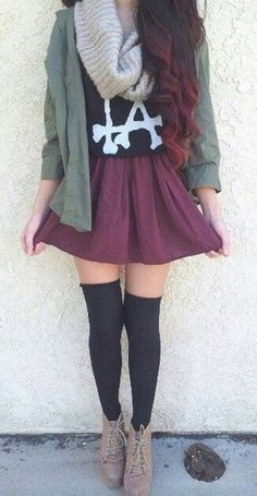Love the long socks with the skirt!