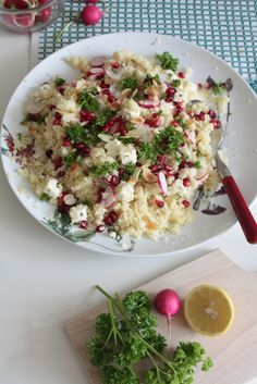 couscous summer salad with radish, goatcheese and pomegranate. Photography by L. de Miranda, 30s magazine