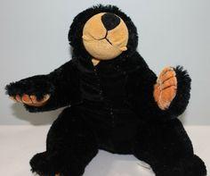 "Black Bear Plush Stuffed Animal Toy Factory 14"" #ToyFactory Bear Toy, Teddy Bear, Black Bear, Pet Toys, Tigger, Plush, Black And White, Cute, Animals"