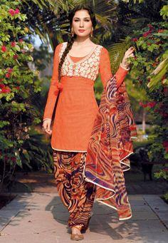 Orange Cotton Patiala Kameez Online Shopping: KWY719