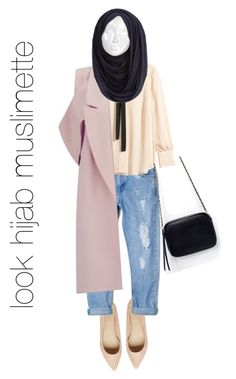 """""""look hijab jeans boyfriend blouse et long manteau"""" by riyas ❤ liked on Polyvore featuring ASOS, MANGO, H&M, Zara and Lavish Alice"""
