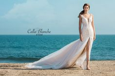 Calla Blanche wedding dress/gown- Jocelyn, ivory trumpet style style wedding dress with lace,  deep v-neckline, and removable arm bands. For the Bride Boutique, Ft. Myers, FL