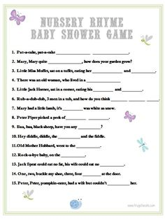 easy baby shower games nursery rhymes and games for baby shower