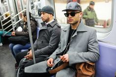 Subway Stalking! 49 Cute New Yorkers Snapped Underground #refinery29  http://www.refinery29.com/44944#slide5  M Train, Delancy Street, 11:32 AM: We're digging the muted tones and shades — fitting for a metropolis.