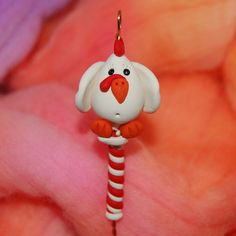 Chicken Spinning Wheel Orifice Hook Polymer Clay by TheClaySheep
