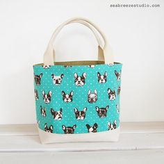 Canvas mini tote  French bulldog in mint blue by seabreezestudio, $22.00