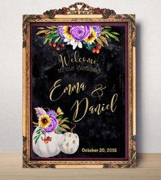 Wedding Sign Printable Wedding Welcome sign pumpkin Chalkboard Sign Welcome to wedding Gold Purple orange wedding sign printable idw47