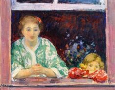 Woman and Little Girl at the Window - Henri Lebasque - The Athenaeum