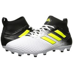 adidas Ace 17.3 FG (Footwear White/Solar Yellow/Core Black) Men's... ($65) ❤ liked on Polyvore featuring men's fashion, men's shoes, mens lace up shoes, yellow mens shoes, mens black lace up shoes, mens black shoes and mens black and white shoes