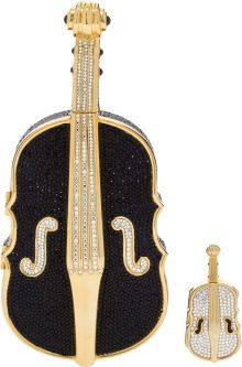 Two: Judith Leiber Full Bead Black & Gold Violin CrystalMinaudiere Evening Bag and Pillbox. Unique Handbags, Luxury Handbags, Vintage Accessories, Vintage Jewelry, Kids Purse, Judith Leiber, Vintage Purses, Cute Bags, Evening Bags