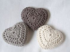 Crochet Hearts.  Pretty in any color.  Display in a decorative candy dish or plate.