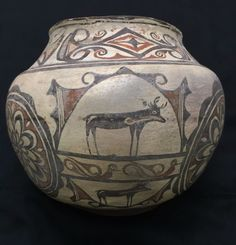 Native American Pottery Old Zuni Indian Olla Large Pueblo Olla circa 1880