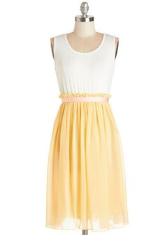Happy to Have You Dress. The soft, white jersey-knit top and lined, pastel-yellow skirt of this ladylike twofer by Kling only accentuate your gracious hostessing. NaN