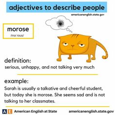adjectives to describe people: morose Learn English Words, English Phrases, English Language Arts, English Study, English Vinglish, British English, English Adjectives, English Idioms, English Lessons