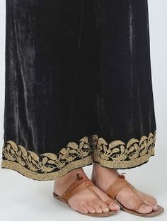 Black Elasticated Tie-up Waist Silk Velvet Palazzos with Embroidered Hem Indian Attire, Indian Outfits, Desi Love, Velvet Suit, Earth 2, Work Suits, Churidar, Palazzo, Fashion Boutique