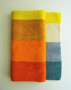 love the colours! -Striped Knitted Baby Blanket | 29 Easy And Adorable Things To Make For Babies