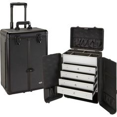 """Overall Dimensions: 14.25 x 9.25 x 20"""" Trays: 12.75 x 6 x 2 Bottom: 12.75 x 6 x 4.25 Front of case splits open to reveal interior 4 premium lined, easy slide out drawers Adjustable/Removable dividers"""