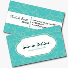 Double Sided Interior Design Business Card