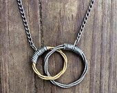 Guitar String Necklace, Two Hearts Linked - Two Toned    Interlocking Circles Silver Necklace, Gold Pendant - Guitar String Jewelry