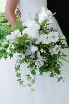 White and Green Natural Asymmetrical Bridal Bouquet