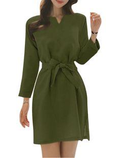 Allegra K Women's Split Sides Long Sleeves Casual Dress w Waist String Green (Size M / 8)