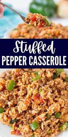 Turkey Casserole, Beef Casserole Recipes, Sausage Recipes, Cooking Recipes, Healthy Recipes, Unstuffed Pepper Casserole, Turkey Recipes, Dinner With Ground Beef, Ground Beef Rice