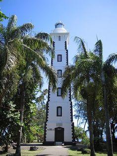 Pacifique - Phare de Pointe Venus appelé aussi phare de Te-ara-o-Tahiti ou Tepaina-venuti, Mahina, Tahiti, (Polynésie française)