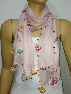 Light Pink scarf with handmade multi color oya flowers - Pink Blush scarf - Beaded Scarf - Crochet Beaded Scarf