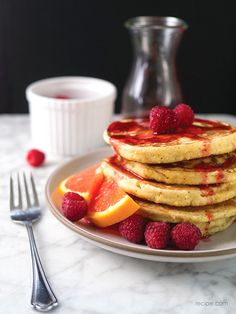 Orange Ricotta Pancakes with Raspberry-Orange Syrup