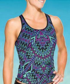Look at this #zulilyfind! Blue Cayo Coco Ready to Run Tankini Top - Women by Athleta #zulilyfinds