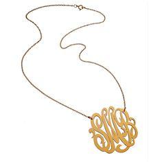 Jennifer Zeuner Large Swirly 3 Initial Gold Pendant