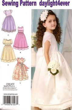 Pageant Formal Flower Girl Toddler/Girl Dress Sewing Pattern 1507 New 4 Styles #Simplicity