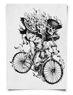 Ilustración de Joaco Contini publicada en el libro Göoo Magazine Bikefriendly Imagination. #Illustration #Argentina #Biker