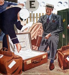 """The experienced traveler"" is clearing customs in a chalk-striped suit worn with casual brown shoes. Esquire, July 1934."