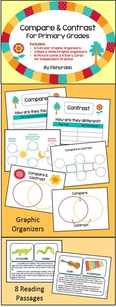 Compare and Contrast for Primary Grades - includes graphic organizers and reading passages