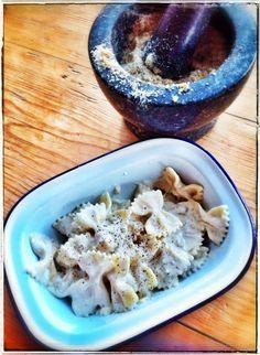 Creamy walnut pasta sauce with prrmiggiano