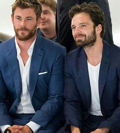 Thor and bucky!! OMG Chris and Sebastian looking good!!