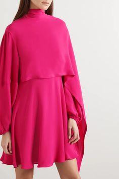 Dress Outfits, Fashion Dresses, Valentino Clothing, Cape Dress, African Attire, Pink Silk, Silk Chiffon, Runway Fashion, Party Dresses