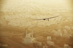 Second leg from Muscat, Oman in March 2015. Courtesy Solar = Impulse. Completed the first solar-powered flight around the world.