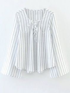 Striped Lace Up Flare Sleeve Blouse - White Hipster Outfits, Boho Outfits, Fall Outfits, Vintage Outfits, Cute Outfits, Teenager Outfits, Outfits For Teens, Cute Blouses, Blouses For Women