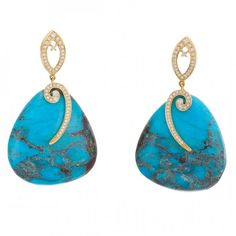 Turquoise and diamond earrings by Rina Limor