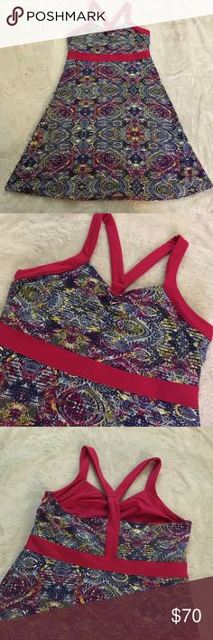 NWOT Soybu sport dress - medium New gorgeous printed dress. Pink accented. Built in sports bra. 88% polyester 12% spandex so there is a ton of stretch to it. It is so comfortable is is a moisture wicking dress so it keeps you cool! Soybu Dresses