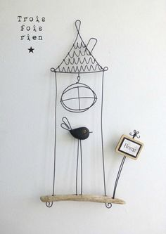Piou fil de fer N° oiseau cage fil de fer, fil de fer, wire - Wireideas - Wire Crafts, Diy And Crafts, Arts And Crafts, Sculptures Sur Fil, Craft Projects, Projects To Try, Wire Ornaments, Origami Art, Wire Art