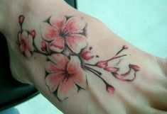 cherry or plum blossom tatoo on foot | cherry blossom tattoo on back cherry blossom tattoo on foot