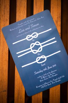 """Such a great wedding invitation, especially if we do the """"tying the knot"""" engagement photos."""
