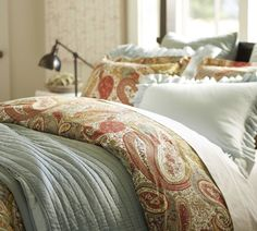 Pottery Barn. Paisley is on trend  and the colours are really soft and warm