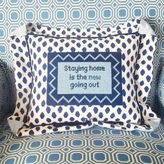 The Glam Pad: Cheeky Needlepoint Funny Needlepoint, Needlepoint Pillows, Needlepoint Designs, Needlepoint Stitches, Needlepoint Canvases, Needlework, Plastic Canvas Tissue Boxes, Plastic Canvas Patterns, Monogram Pillows
